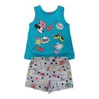 Disney Little Girls Blue Gray Minnie Mouse Sleeveless 2 Pcs Outfit Set