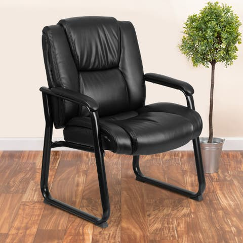Big & Tall 500 lb. Rated LeatherSoft Tufted Executive Chair - Sled Base