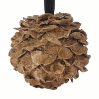 "5"" Rich Elegance Brown and Gold Glitter Pine Cone Christmas Ball Ornament"