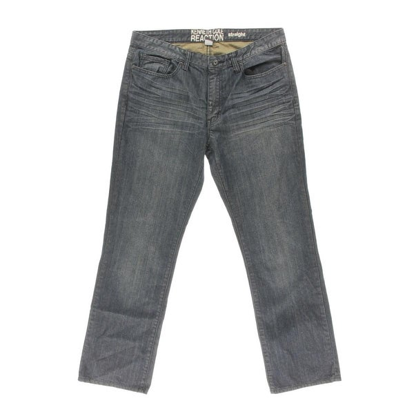 Kenneth Cole Reaction Mens Straight Leg Jeans Low Rise Baked Creases