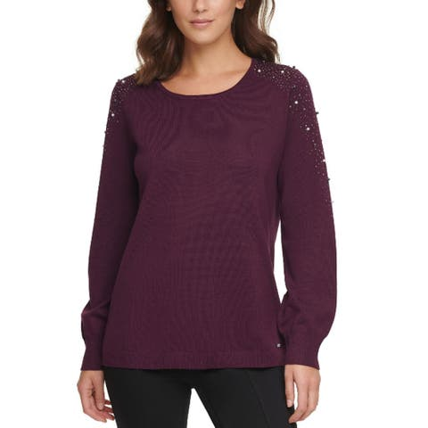 Calvin Klein Womens Rhinestone-Embellished Studded Sweater M Aubergine