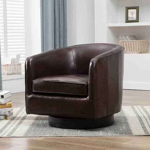 Ridgeline Brown Top Grain Leather Swivel Chair by Greyson Living