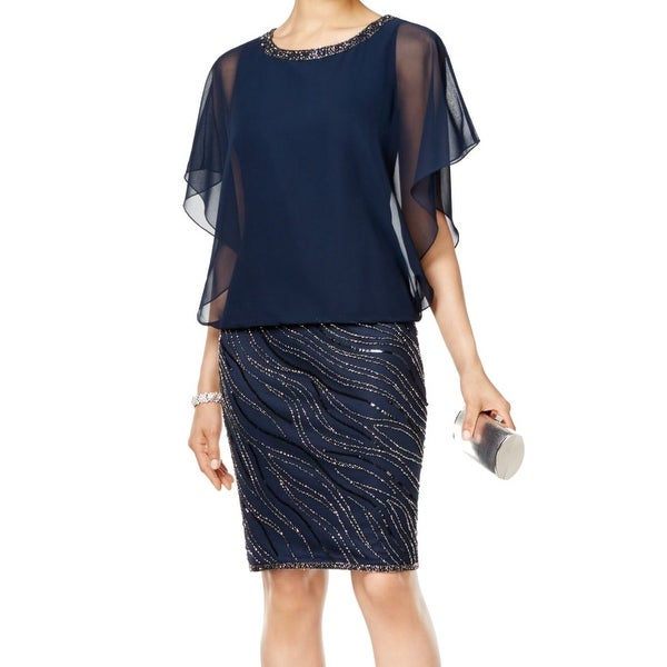 d77f346f64f2c J Kara NEW Navy Blue Women's Size 8 Beaded Chiffon Blouson Dress