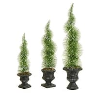 Set of 3 Artificial Sparkling Green Frosted Spiral Topiary Christmas Tree - Unlit
