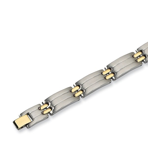 Chisel Gold-Plated Brushed and Polished Stainless Steel Bracelet - 8.75 Inches