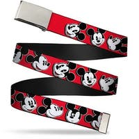 "Blank Chrome 1.0"" Buckle Mickey Mouse Expressions Red Black White Webbing Web Belt 1.0"" Wide - S"