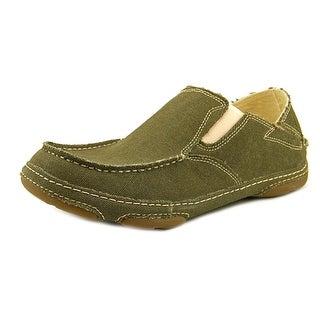 Tony Lama RR3031 Men D Round Toe Canvas Green Loafer