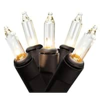 """Set of 100 Clear Mini Christmas Lights 2.5"""" Spacing-Black Wire - brown"""