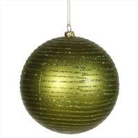 4.75 in. Olive Green Glitter Striped Shatterproof Christmas Ball