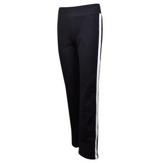 L-RL Lauren Active Women's Striped-Side Knit Jersey Pants - BLACK/WHITE - XS