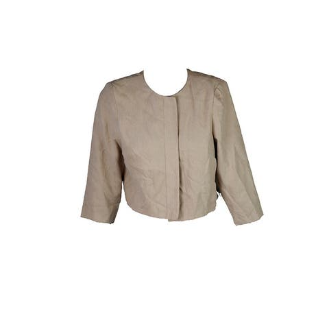 Jessica Howard Petite Beige /-Sleeve Cropped Jacket P - 12P