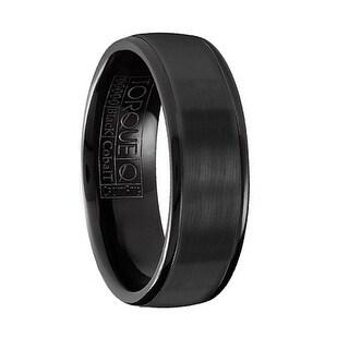 Brushed Finish Men's Torque Black Cobalt Wedding Band Round Polished Edges by Crown Ring - 7 mm
