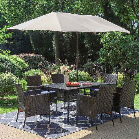 Sophia & William 8 Pieces Patio Dining Set, 6 PE Rattan Chairs with Cushions,1 Rectangle Metal Table and 13ft Large Umbrella