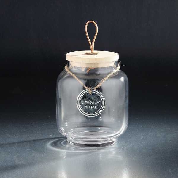 """8.5"""" Clear and Brown Candy Dish Jar with Wood Lid - N/A"""