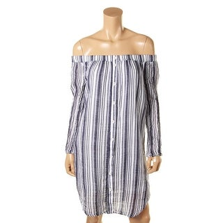 Three Dots Womens Tunic Top Striped Off-The-Shoulder - xL