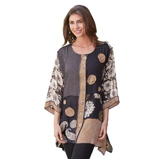 Women's Tunic Top - Gala Big Button Brown & Black Shirt