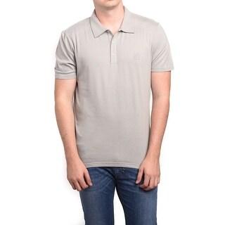 Versace Men's Cotton Medusa Logo Polo Shirt Tan
