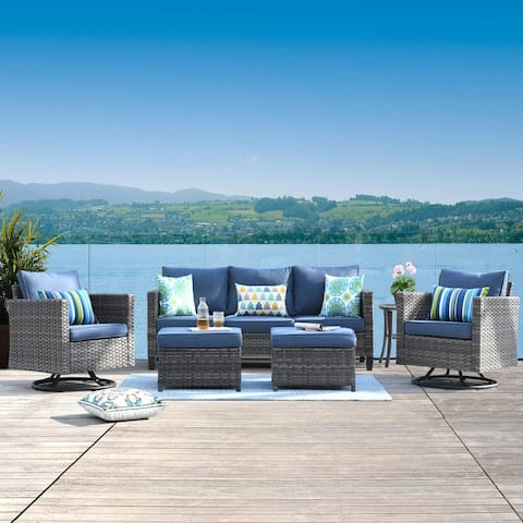 Ovios Patio Furniture Sets 6-piece Wicker Rocking Swivel Chair Sectional Sofa Set With Side Tables