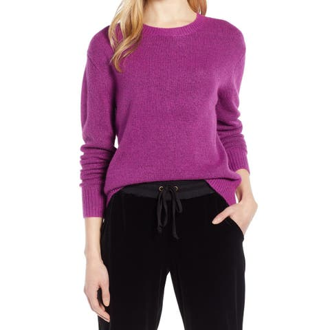 Halogen Womens Deep Purple Size Small S Crewneck Bow-Detail Sweater