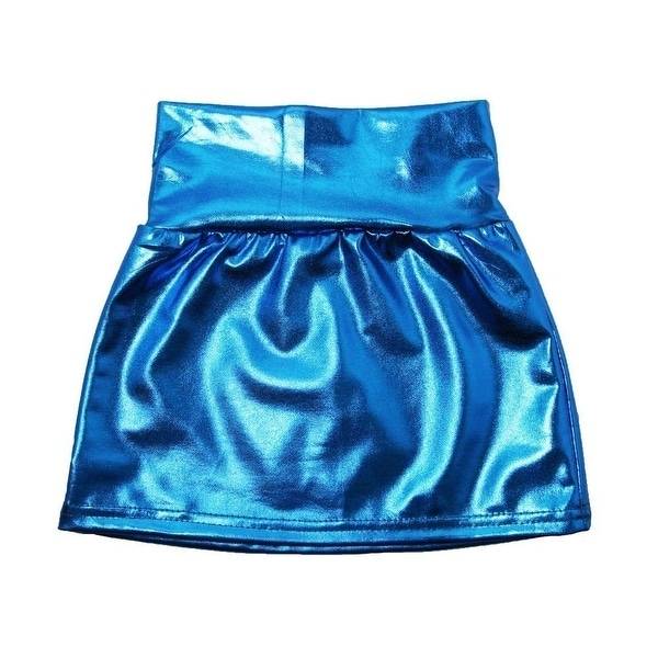 Baby Girls Blue Metallic Shine Stretchy Lightweight Soft Skirt 24M