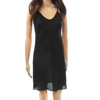 Anna Sui NEW Deep Black Bias Cut Women's Size 2 Slip Sheath Dress