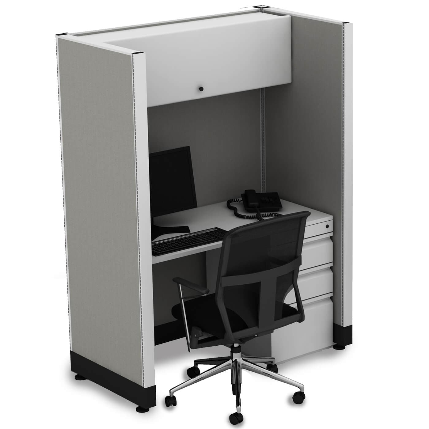 Tall Cubicles 67H Unpowered (2x3 - Espresso Desk Silver Paint - Assembly Required)
