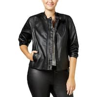 MBLM By Tess Holliday Womens Jacket Faux Leather Textured
