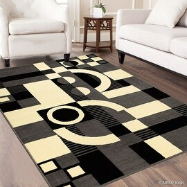 "Allstar Grey Area Rug. Contemporary. Abstract. Traditional. Geometric. Formal. Shapes. Squares (3' 9"" x 5' 1"")"