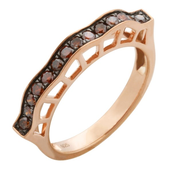 Beautiful 0.35Ct Round Brilliant Cut Cognac Color Natural Diamond Stylist Ring