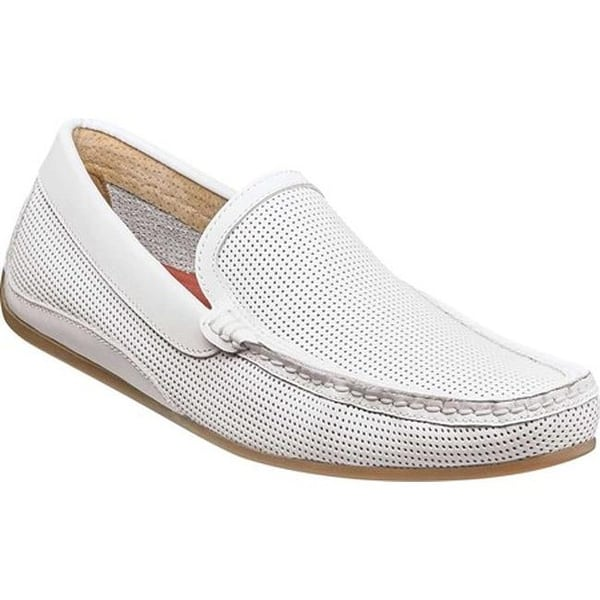 1959ca2c724 Shop Florsheim Men s Oval Perf Driver White Smooth Leather - Free ...