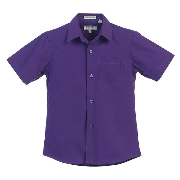 0393d7e1a Shop Gioberti Little Boys Dark Purple Solid Color Button Down Short Sleeved  Shirt - Free Shipping On Orders Over  45 - Overstock - 23090267