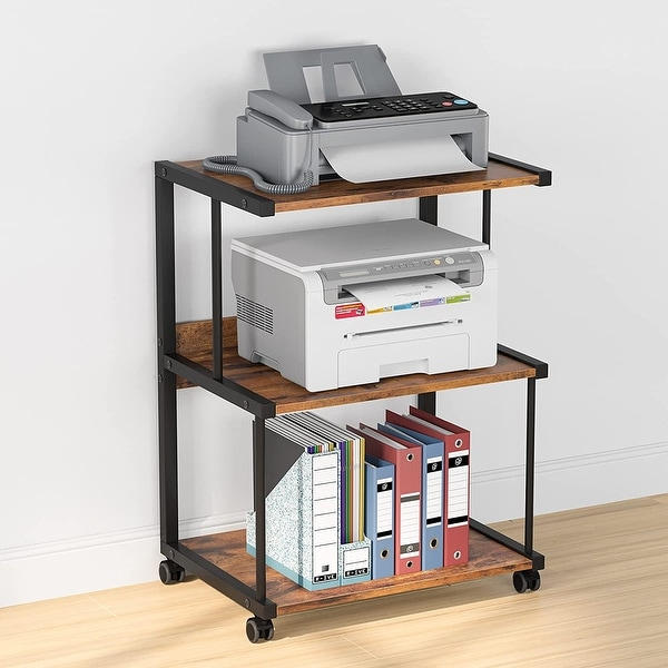3-Shelf Printer Stand with Storage, Rolling Printer Table Machine Cart with Wheels, Mobile Desk Organizer Shelves for Office. Opens flyout.