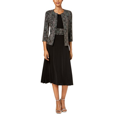 Jessica Howard Womens Petites Dress With Jacket Metallic Printed