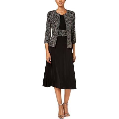 788b4787960 Jessica Howard Womens Petites Dress With Jacket Metallic Printed