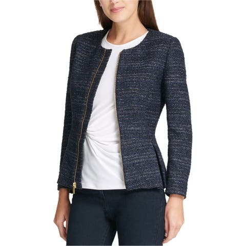 Dkny Womens Zip Up Peplum Blazer Jacket