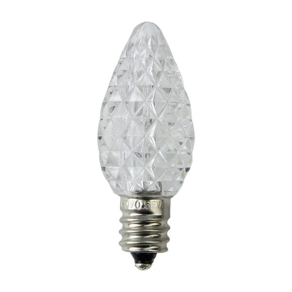 Pack of 25 Faceted LED C7 Pure White Christmas Replacement Bulbs