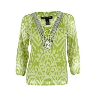 INC International Concepts Women's 3/4 Sleeve Embellished Top - Sunrise - ps