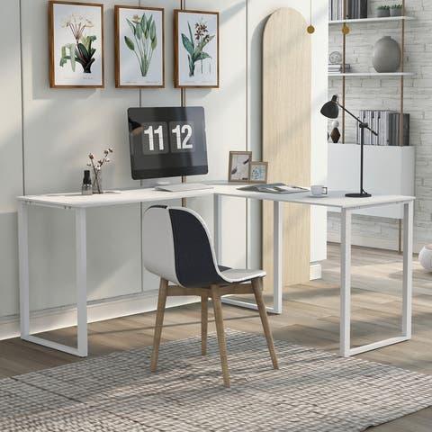 AOOLIVE Executive Workstation L-shape Cornor Computer Desk, Oak White