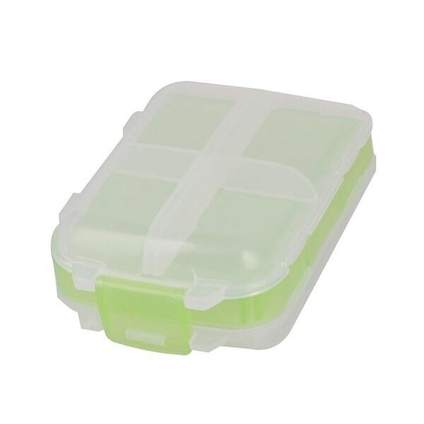 Camping Plastic 8 Compartments Medicine Capsule Pill Container Box Light Green
