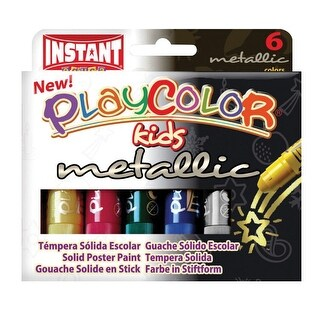 Jack Richeson Playcolor Solid Tempera, Assorted Metallic Colors, Set of 6
