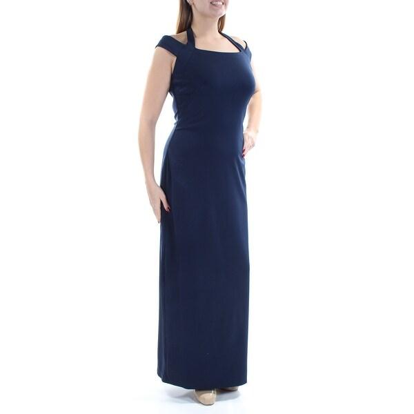 Shop Womens Navy Cap Sleeve Full Length Sheath Formal Dress Size 12