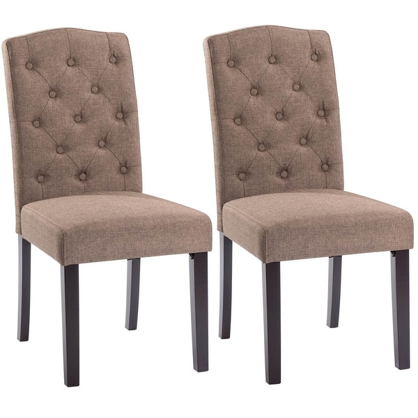 Shop Costway Set Of 2 Linen Fabric Wood Accent Dining