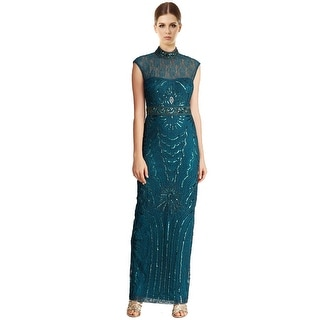Sue Wong Lace Illusion Neck Embellished Column Evening Gown Dress - 0