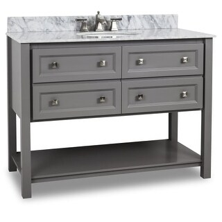 "Elements VAN088-48-T Alder 48"" Vanity Set with Wood Cabinet, Marble Top, and One Undermount Sink"