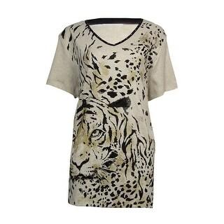 Alfred Dunner Women's Beaded Tiger Print Cotton Blend Tee - m