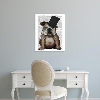 Easy Art Prints Fab Funky's 'English Bulldog, Formal Hound and Hat' Premium Canvas Art