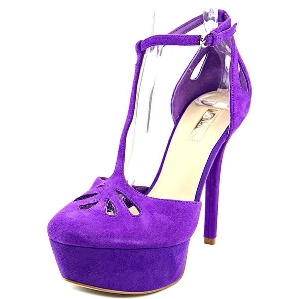 Guess Espie Women Open Toe Suede Purple Platform Heel