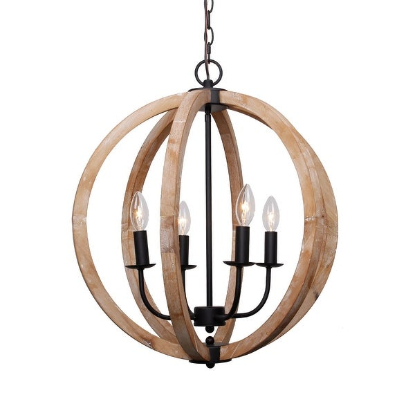 Antique 4 Light Distressed Wood Orb Chandelier