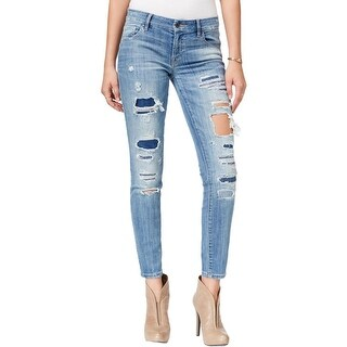 Guess Womens Power Curvy Mid Skinny Jeans Destroyed Slim Fit