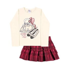 Girls Outfit Long Sleeve Shirt and Skirt Kids Set Pulla Bulla Sizes 2-10 Years